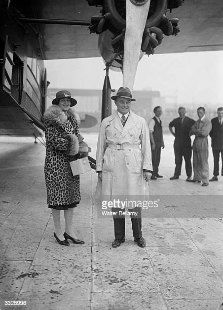 Aviator Lady Sophie Mary Heath on arrival at Croydon aerodrome after her first flight as an airline pilot for Royal Dutch Lines making her the first...