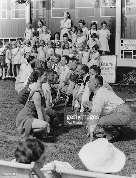 Holidaymakers at Bridlington, North Yorkshire, attend a Health and Beauty Class run by the Corporation instructress, Miss T Brooke.