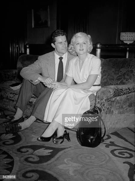 British actress Angela Lansbury and her husband Peter Shaw before their wedding