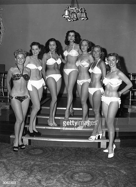 Competitors in the first Miss World contest at the Empire Rooms on Tottenham Court Road London
