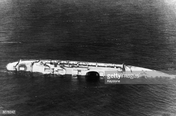 The Andrea Doria part of Italy's transatlantic liner fleet now lies a battered wreck about 300 miles east of New York after colliding with the...