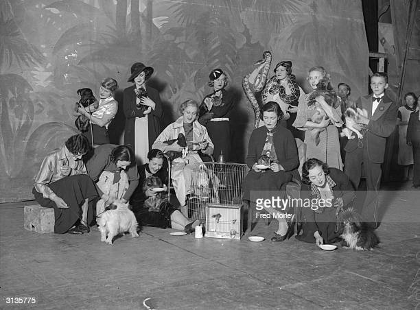 Snake charmer Arimund Banu holds a party for stage performers' pets at the Prince of Wales Theatre London
