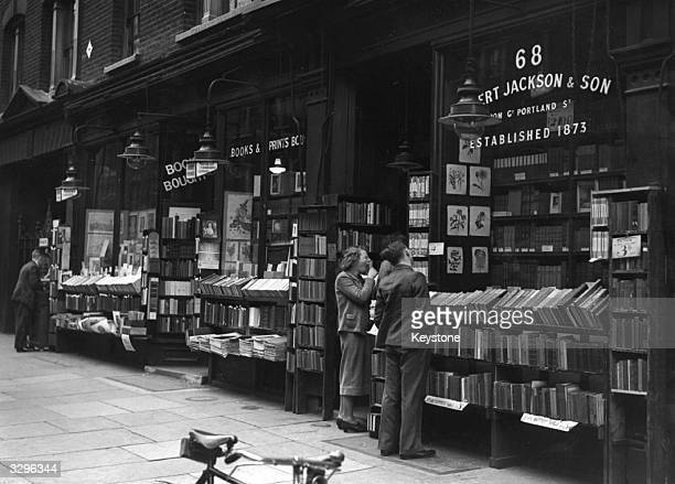 Exterior of an Albert Jackson and Sons bookshop Charing Cross Road London