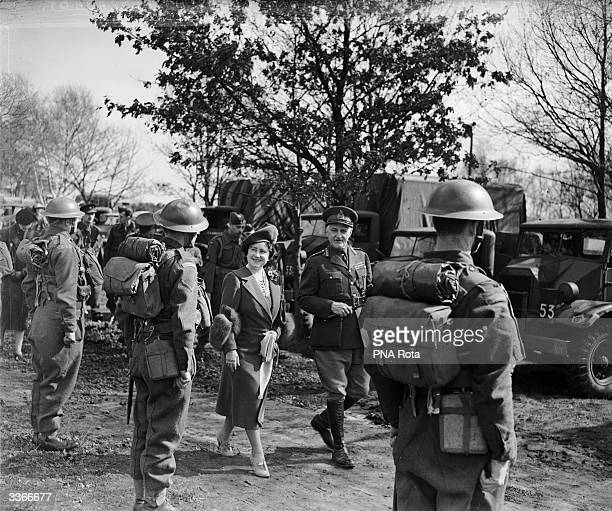 Queen Elizabeth Queen Consort to King George VI inspecting a Central Ontario Regiment of the Canadian Army stationed at Aldershot