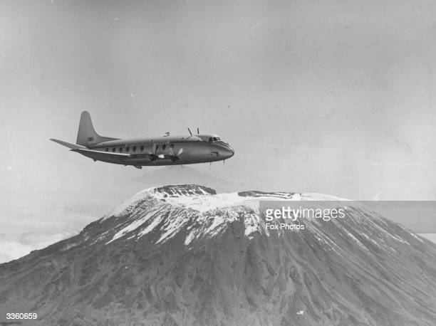 The Vickers Viscount airplane undergoing high altitude trials over Mount Kilimanjaro in East Africa