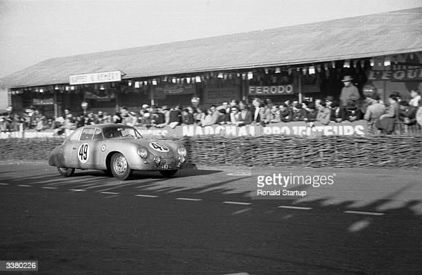 The Porsche AG Porsche 356 driven by Auguste Veuillet and Peter Max Muller during the 24 Hours of Le Mans race on 13th June 1953 at the Circuit de la...