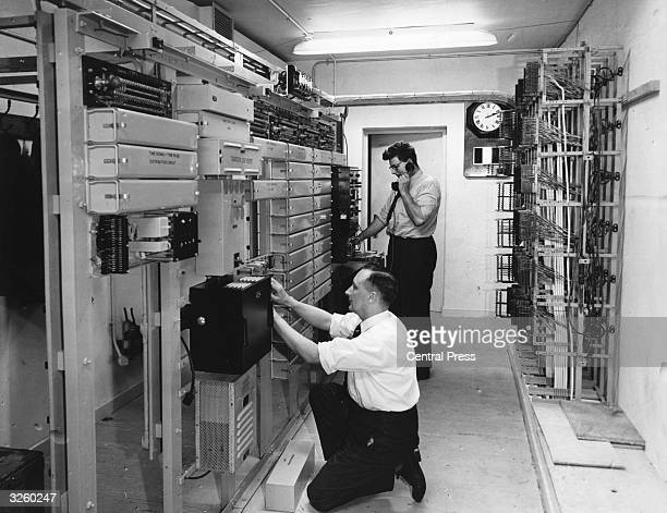 The telephone plant room of the underground headquarters of the Royal Observer Corps specially constructed to be used in the event of nuclear war...