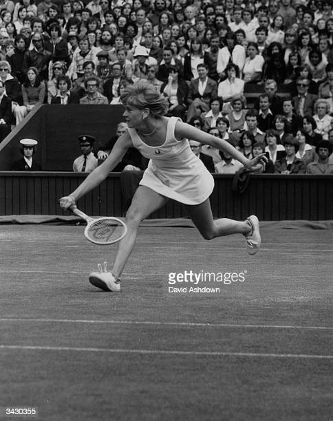 Sue Barker reaches for a ball in her match against Kerry Reid of Australia in a Ladies' Quarter Finals at Wimbledon Sue Barker won 6 3 6 4