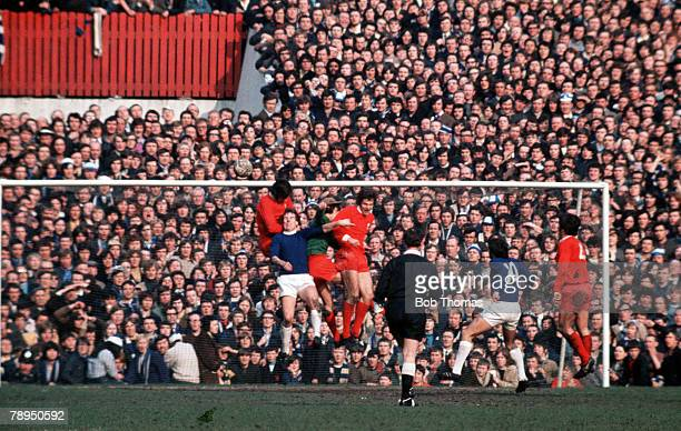 27th March 1971 Old Trafford Manchester FA Cup Semi Final Liverpool 2 v Everton 1 The Liverpool defence stand firm as they clear an Everton attack
