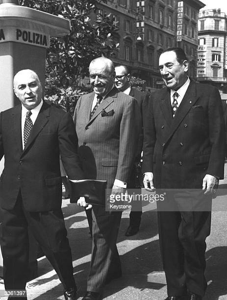 Former Argentinian president Juan Peron with Argentinian president Hector Campora on the streets of Rome