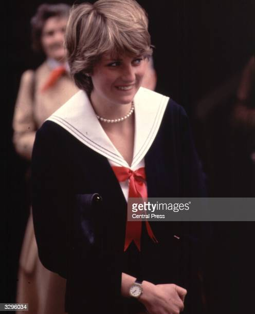 A smiling Lady Diana Spencer during a visit to Cheltenham Police HQ in Gloucestershire England