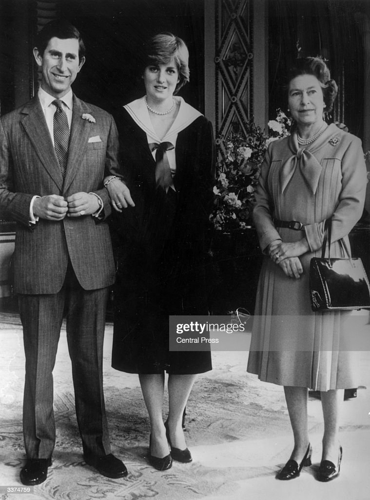 Charles, Prince of Wales, his fiancee Diana, Princess of Wales (as Lady Diana Spencer) and Queen Elizabeth II at Buckingham Palace, London, after she gave her consent for their wedding.