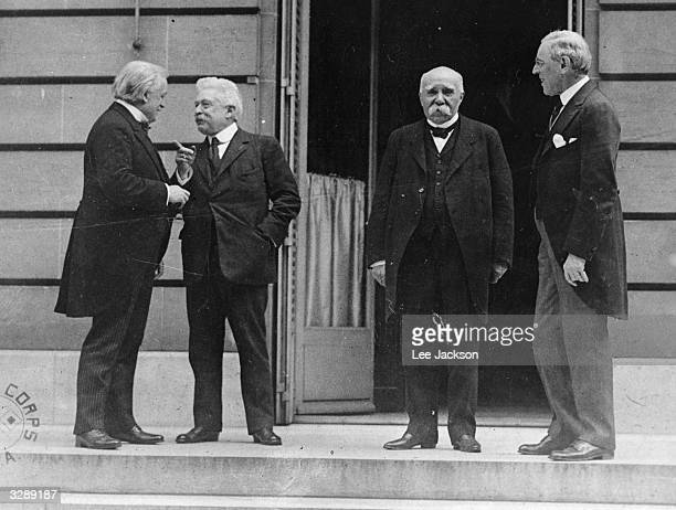 British Prime Minister Lloyd George Italian President Vittorio Orlando French Prime Minister Georges Clemenceau and American President Woodrow Wilson...