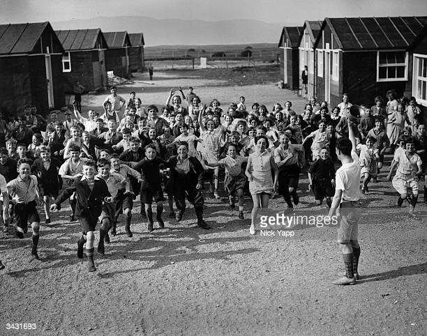 Schoolchildren from Lancashire in a holiday camp in North Wales during a holiday organised by the Swinton and Pendlebury Poor Children's Seaside Fund