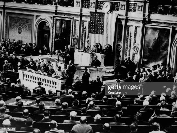 American president Franklin D Roosevelt asking the Senate for a billion dollars so that aircraft production can be increased to 50000 per year