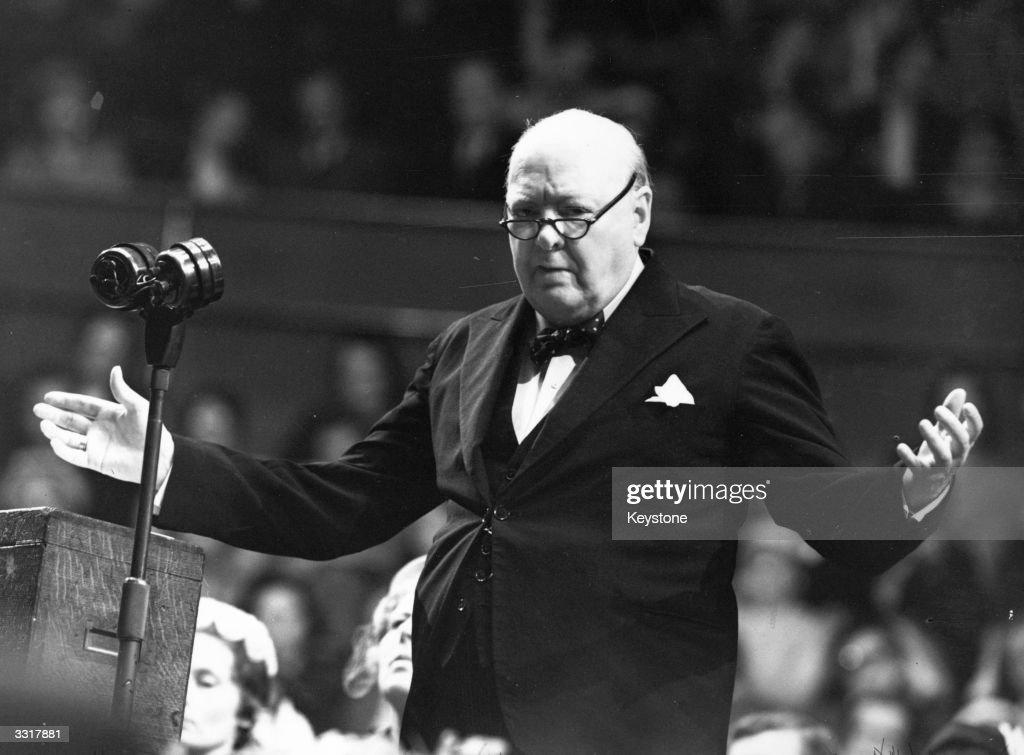 Sir Winston Leonard Spencer Churchill (1874 - 1965) addressing a Women Conservatives meeting.