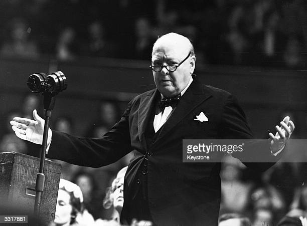 Sir Winston Leonard Spencer Churchill addressing a Women Conservatives meeting