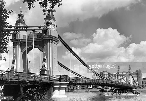 Hammersmith Bridge in London.