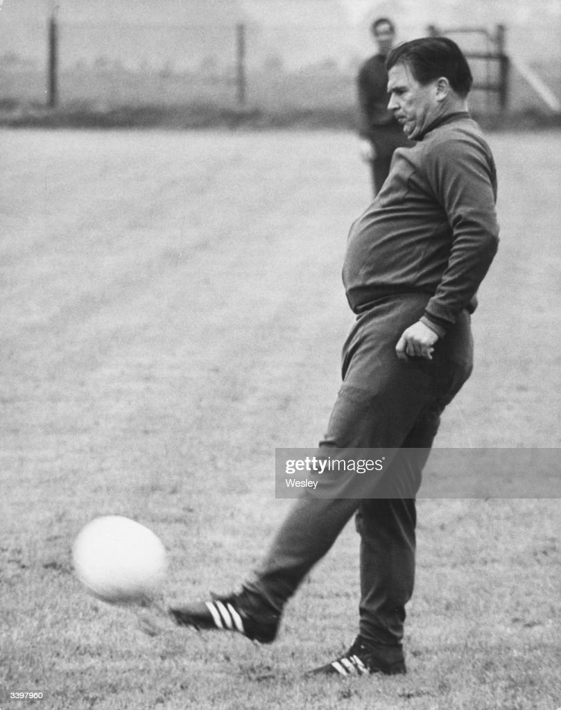 Manager of Greek football team Panathinaikos, Ferenc Puskas joining the training session for the European Cup Final against Ajax held at Wembley.