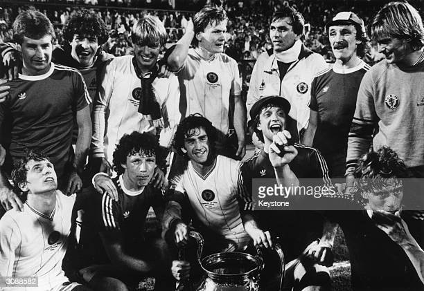Aston Villa football team with the European Cup which they won by defeating Bayern Munich 1 0 in Rotterdam