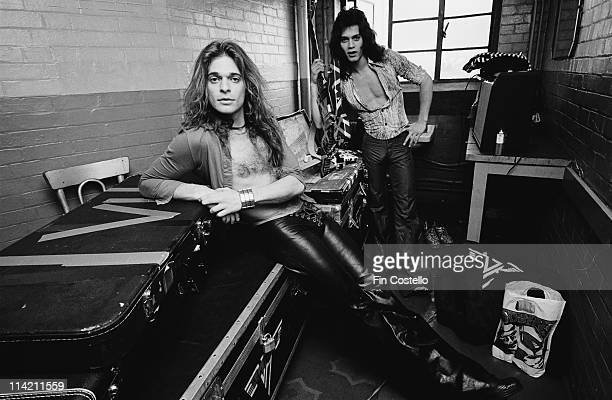 David Lee Roth and Eddie Van Halen from Van Halen pose backstage at Lewisham Odeon in London on 27th May 1978