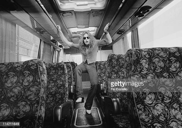 David Lee Roth from Van Halen poses in the aisle of their tour bus outside Lewisham Odeon in London on 27th May 1978