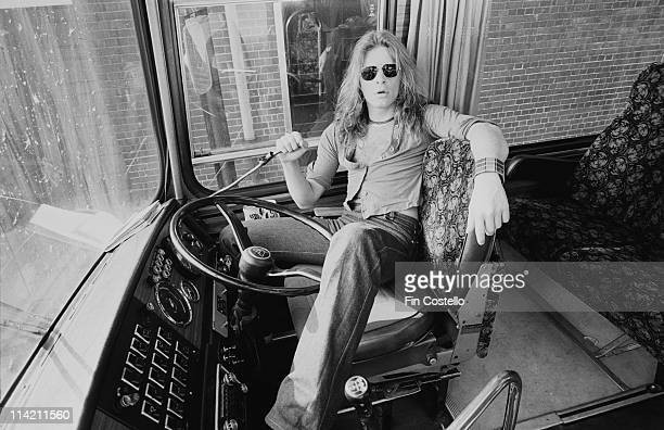 David Lee Roth from Van Halen poses in the driver's seat of their tour bus outside Lewisham Odeon in London on 27th May 1978