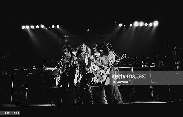 Van Halen perform live on stage at Lewisham Odeon in London on 27th May 1978. Left to Right: Michael Anthony, David Lee Roth, Eddie Van Halen.
