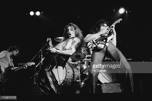 Van Halen perform live on stage at Lewisham Odeon in London on 27th May 1978 Left to Right Michael Anthony David Lee Roth Eddie Van Halen