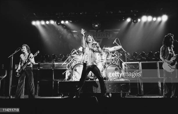 Van Halen perform live on stage at Lewisham Odeon in London on 27th May 1978 Left to Right Michael Anthony David Lee Roth Eddie Van Halen