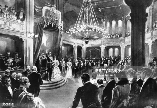 King Haakon VII takes an oath of allegiance to the newlyindependent country of Norway He is accompanied by Queen Maud