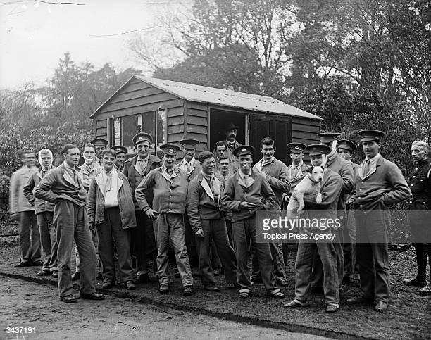 Wounded soldiers gathered outside the cigarette hut at Waverley Abbey Surrey