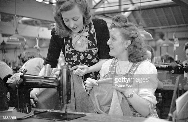 Year old Audrey Martin and 18 year old Audrey Richards work on an assembly line in a clothing factory in Leicester. Both have been selected by...