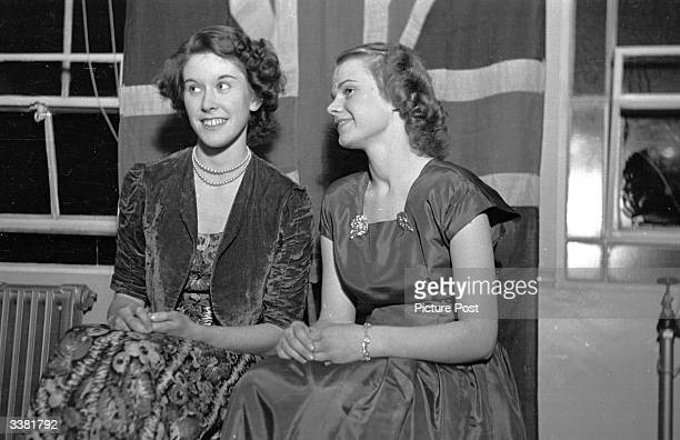 Pair of young women at a dance in Leicester, selected by Picture Post as proof of the claim that Leicester is home to the prettiest girls in England....