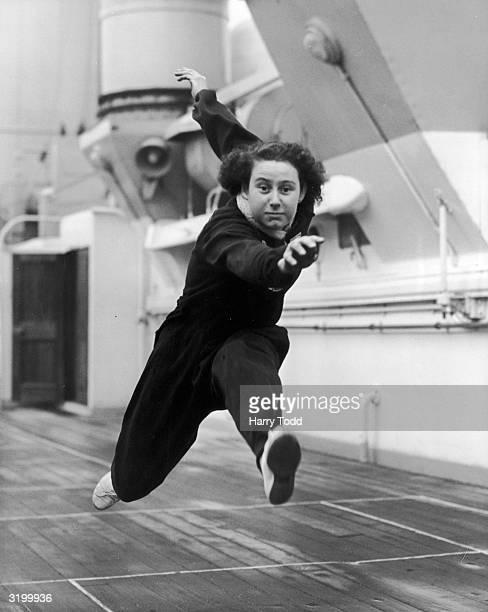 17 yearold athletics allrounder Audrey Bennett in training on the deck of the SS Otranto at Tilbury before leaving for Adelaide Australia Bennett is...