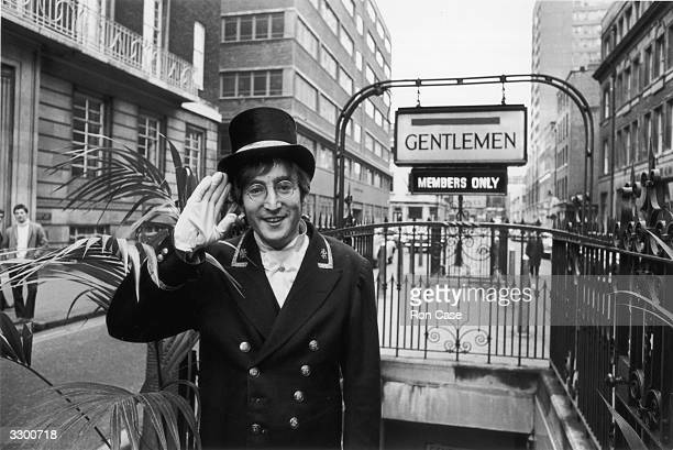 British rock musician and member of The Beatles, John Lennon , dressed as a Public Lavatory Commissionaire during the filming of the 'Not Only...But...