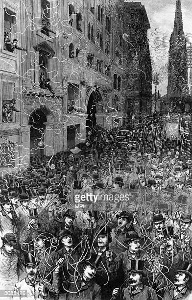 A crowd of riotous supporters celebrate the inauguration of Grover Cleveland as the 22nd president of the United States with a parade down New York...