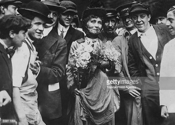 British suffragette Emmeline Pankhurst in the area of New York known as the Battery after her release from Ellis Island