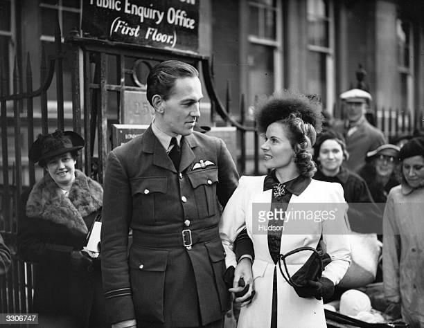 Ann Todd stage name of Ann Mayfield US child star of the 40's and FlightLieutenant Nigel Tangye on their wedding day at Chelsea Registry office...