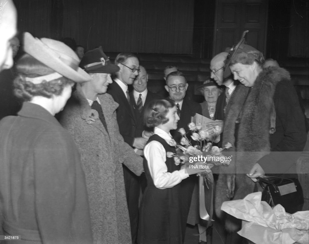 Eleanor Roosevelt, the wife of the American Democratic President Franklin Delano Roosevelt, at County Hall in London.