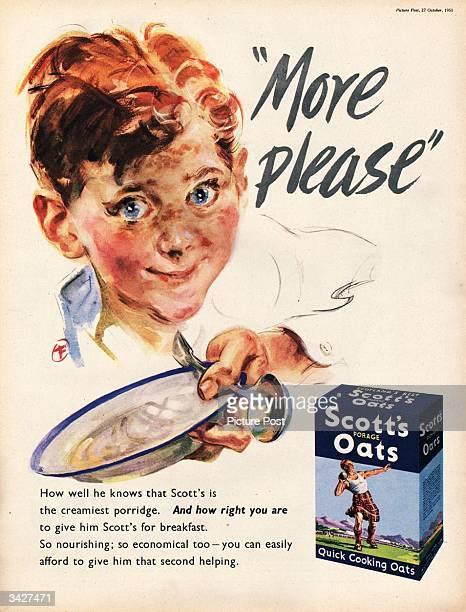 A young boy begs for a second helping of Scott's Porage Oats 'the creamiest porridge' Original Publication Picture Post Ad Vol 53 No 4 P 11 pub 1951