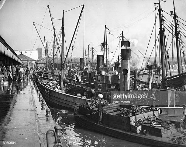 A general view of the drifters discharging herring at Lowestoft quay The boat in the foreground is coaling from a barge ready to set to sea again as...