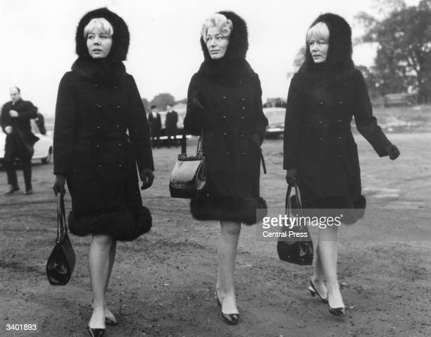The Beverley Sisters Teddie Joy and Babs at the funeral of singer Alma Cogan at Bushey Jewish Cemetery Hertfordshire