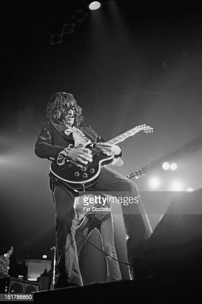 Guitarist Joe Perry from Aerosmith performs live on stage at the Civic Center in Providence Rhode Island USA on 27th October 1975