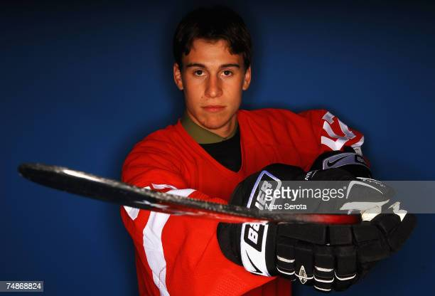 27th overall pick Brendan Smith of the Detroit Red Wings poses for a portrait during the first round of the 2007 NHL Entry Draft at Nationwide Arena...