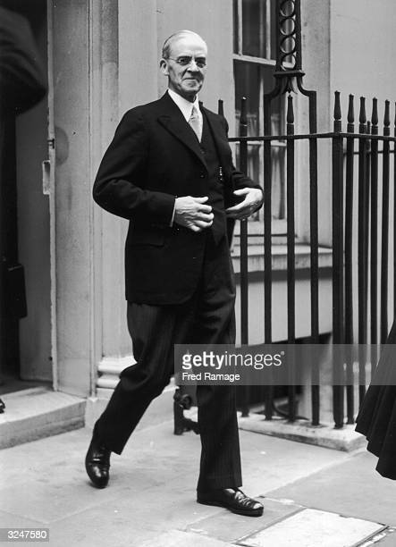 Sir Stafford Cripps the Chancellor of the Exchequer leaves Number 10 Downing Street in London for the Houses of Parliament where he will take part in...