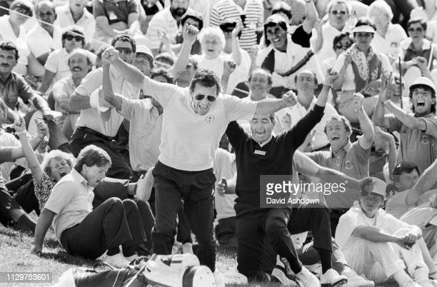 OHIO USA 27th SEPTEMBER 1987 Captain Tony Jacklin at the moment of victory for the European team at the 27th Ryder Cup At Muirfield GC Dublin Ohio...