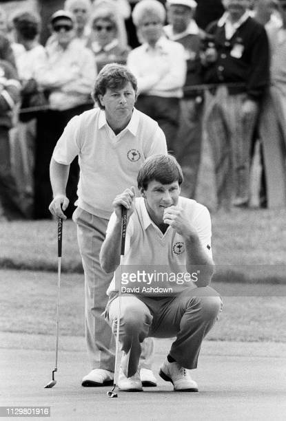 OHIO USA 27th SEPTEMBER 1987 Nick Faldo and Ian Woosnam at the 27th Ryder Cup At Muirfield GC Dublin Ohio USA 27th September 1987