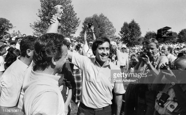 27th SEPTEMBER 1987 Seve Ballesteros and Captain Tony Jacklin celebrate victory for the European team at the 27th Ryder Cup At Muirfield GC Dublin...