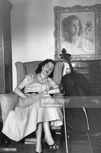 27yearold cellist Amaryllis Fleming relaxes at home after rehearsing for her Promenade Concert debut at the Royal Albert Hall London 19th September...
